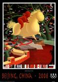 Yellow Flying Horse Beijing Olympics 2008 Poster von Datian He
