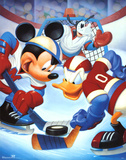 Mickey Mouse and Friends Ice Hockey アートポスター