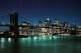 New York City (Brooklyn Bridge & Night Skyline, 2007) Photo Print Poster Poster
