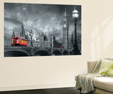Bus on Westminster Bridge London Mini Mural Huge Poster Art Print Mural de papel de parede