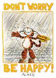 Não se preocupe, seja feliz, amor, Alex Rinesch, em inglês, pôster da impressão artística Poster