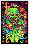 Alice in Wonderland, Mad Hatter collage op fluweel-blacklight kunstdruk Posters