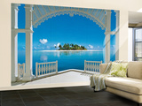 Ein perfekter Tag auf dem Balkon Malediven Fototapete Wandgemälde