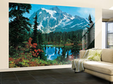 Mountain Morning Huge Wall Mural Art Print Poster Mural de papel de parede