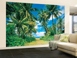 Palmen Strand Insel Karibik Fototapete Wandgemälde