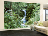Waterfall in Spring Huge Wall Mural Art Print Poster Vægplakat