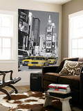 New York City Taxis in Times Square Mini Mural Huge Poster Art Print Mural de papel de parede