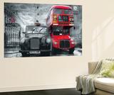 London Taxi and Bus Mini Mural Huge Poster Art Print Wandgemälde