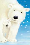 Fluffy Polar Bears (Mom and Cub) Art Poster Print Póster