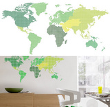 World Map 13 Wall Stickers Veggoverføringsbilde