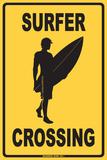 Surfer Crossing Blechschild