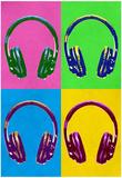 Headphones Pop Art Poster Print