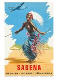 Sabena Airlines, Belgium - Congo - South Africa c.1950s Posters af C.J. Pub