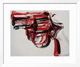 Arma, cerca de 1981-82 (preto e vermelho sobre branco) Impressão giclée emoldurada por Andy Warhol
