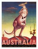 Australia, Airline & Travel Kangaroo c.1957 Giclée-tryk af Eileen Mayo