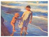 Children On The Beach Láminas por Joaquín Sorolla y Bastida