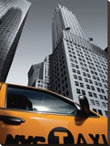 Chrysler Building NYC Taxi Stretched Canvas Print by Michel Setboun