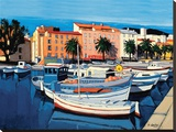 Barques De Pêcheurs dans Le Port D'Ajaccio Stretched Canvas Print by Jean Claude Quilici