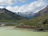 The Glacier Express Train Near St. Moritz, Canton Graubunden, Swiss Alps, Swiitzerland, Europe Photographic Print by Angelo Cavalli