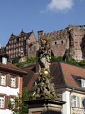 View from Kornmarkt to Castle, Heidelberg, Baden-Wurttemberg, Germany, Europe Photographic Print by Hans Peter Merten