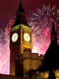 New Year Fireworks and Big Ben, Houses of Parliament, Westminster, London, England, United Kingdom, Fotografisk trykk av Frank Fell
