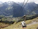 Cableway Wengen-Mannlichen, Lauterbrunnen Valley, Bernese Oberland, Swiss Alps, Switzerland, Europe Impressão fotográfica por Hans Peter Merten