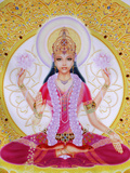 Picture of Lakshmi, Goddess of Wealth and Consort of Lord Vishnu, Sitting Holding Lotus Flowers, Ha Lámina fotográfica por  Godong