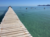 Pier at Platja D'Alcudia, Mallorca, Balearic Islands, Spain, Mediterranean, Europe Impressão fotográfica por Hans Peter Merten
