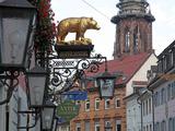 Salzstravue and Minster, Old Town, Freiburg, Baden-Wurttemberg, Germany, Europe Impressão fotográfica por Hans Peter Merten