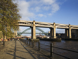 Tyne Bridges and Quayside, Newcastle Upon Tyne, Tyne and Wear, England, United Kingdom, Europe Photographic Print by Mark Sunderland