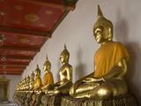 Sitting Buddhas, Wat Pho (Reclining Buddha Temple), (Wat Phra Chetuphon), Bangkok, Thailand, Southe Impressão fotográfica por Richard Maschmeyer