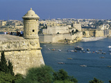 View over Bastions and Grand Harbour to Fort St. Angelo with Rowing Regatta, Valletta, Malta, Medit Photographic Print by Stuart Black