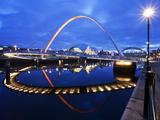 Gateshead Millennium Bridge and the Sage at Dusk, Newcastle, Tyne and Wear, England, United Kingdom Photographic Print by Mark Sunderland