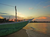 Outrigger Boat at Sunset at This Fishing Beach and Popular Tourist Surf Destination, Arugam Bay, Ea Photographic Print by Robert Francis