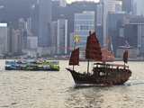 Star Ferry and Chinese Junk Boat on Victoria Harbour, Hong Kong, China, Asia Photographic Print by Amanda Hall