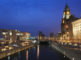 Royal Liver Building at Dusk, Pier Head, UNESCO World Heritage Site, Liverpool, Merseyside, England Photographic Print by Chris Hepburn