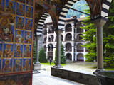 Arcade Murals Depicting Religious Figures, Church of the Nativity, Rila Monastery, UNESCO World Her Photographic Print by Dallas & John Heaton
