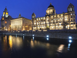 The Three Graces at Dusk, Cunard Building, Port of Liverpool Building, UNESCO World Heritage Site,  Photographic Print by Chris Hepburn