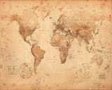 World Map - Antique Julisteet