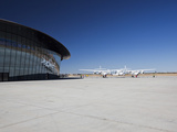 Virgin Galactic's White Knight 2 with Spaceship 2 on the Runway at the Virgin Galactic Gateway Spac Photographic Print by Mark Chivers
