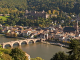 View of the Alte Brucke (Old Bridge), Neckar River Heidelberg Castle and Old Town from the Philosop Reproduction photographique par Michael DeFreitas