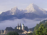 Steeples of St. Andrews and St. Peter Beneath Watzman Mountain, Berchtesgaden, Germany Fotografisk trykk av Adam Jones