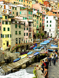 Fishing Boats Line the Launch Site in the Village of Riomaggiore, Cinque Terre, Tuscany, Italy Fotoprint van Richard Duval