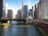 Boat and River, Chicago River, Chicago, Illinois, Usa Photographic Print by Alan Klehr