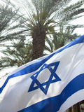 Israeli Flag with Star of David and Palm Tree, Tel Aviv, Israel, Middle East Photographic Print by John & Lisa Merrill