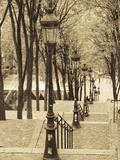 Autumn, Rue De Foyatier Steps to the Place Du Sacre Coeur, Montmartre, Paris, France Reproduction photographique par Walter Bibikow