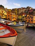 Fishing Boats at Rest in Manarola in Cinque Terre, Tuscany, Italy Fotoprint van Richard Duval