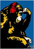 Steez Monkey Thinker - Red Headphones Art Poster Print Julisteet