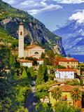 The Parish Church in the Village of Limone on Lake Garda, Italy Fotoprint van Richard Duval