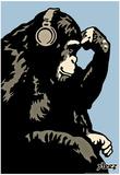 Steez Monkey Thinker - Blue Art Poster Print Posters